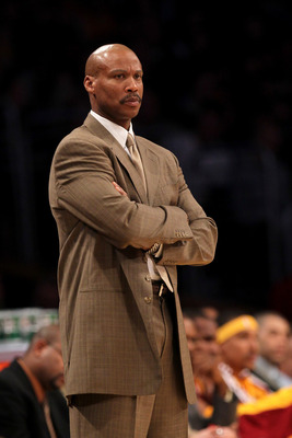 LOS ANGELES, CA - JANUARY 11:  Head coach Byron Scott of the Cleveland Cavaliers looks on during the game with the Los Angeles Lakers at Staples Center on January 11, 2011 in Los Angeles, California.  The Lakers won 112-57. NOTE TO USER: User expressly ac