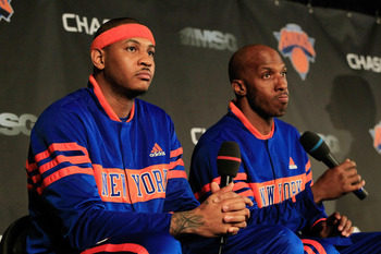NEW YORK, NY - FEBRUARY 23: New York Knicks new players (L) Carmelo Anthony and Chauncy Billups are introduced to the media at a press conference at Madison Square Garden on February 23, 2011 in New York City. NOTE TO USER: User expressly acknowledges and