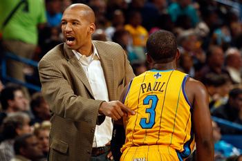 NEW ORLEANS, LA - JANUARY 22:  Head coach Monty Williams points to Chris Paul #3 of the New Orleans Hornets during the game against the San Antonio Spurs at the New Orleans Arena on January 22, 2011 in New Orleans, Louisiana.  The Hornets defeated the Spu