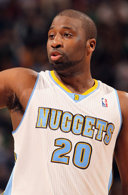 DENVER, CO - FEBRUARY 24:  Raymond Felton #20 of the Denver Nuggets looks on against the Boston Celtics during NBA action at the Pepsi Center on February 24, 2011 in Denver, Colorado. NOTE TO USER: User expressly acknowledges and agrees that, by downloadi