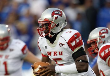 LEXINGTON, KY - SEPTEMBER 27:  Quarterback K.J. Black #5 of the Western Kentucky Hilltoppers looks to run with the ball against the Kentucky Wildcats during the game at Commonwealth Stadium on September 27, 2008 in Lexington, Kentucky. The Wildcats defeat
