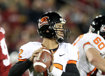 PALO ALTO, CA - NOVEMBER 27:  Ryan Katz #12 of the Oregon State Beavers passes the ball against the Stanford Cardinal at Stanford Stadium on November 27, 2010 in Palo Alto, California.  (Photo by Ezra Shaw/Getty Images)