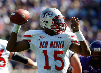 FORT WORTH, TX - NOVEMBER 28:  Quarterback Donovan Porterie #15 of the New Mexico Lobos drops back to pass against the TCU Horned Frogs at Amon G. Carter Stadium on November 28, 2009 in Fort Worth, Texas.  (Photo by Ronald Martinez/Getty Images)