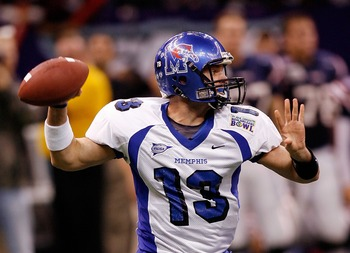 NEW ORLEANS - DECEMBER 21:  Quarterback Martin Hankins #13 of the Memphis University Tigers throws a pass against the Florida Atlantic University Owls in the R+L Carriers New Orleans Bowl on December 21, 2007 at the Louisiana Superdome in New Orleans, Lou