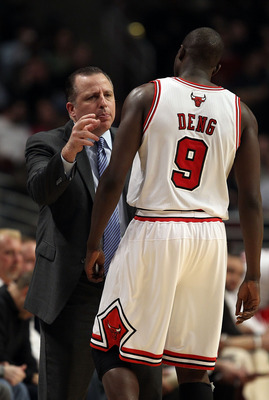 CHICAGO, IL - FEBRUARY 17: Head coach Tom Thibodeau of the Chicago Bulls gives instructions to Loul Deng #9 during a game against the San Antonio Spurs at the United Center on February 17, 2011 in Chicago, Illinois. NOTE TO USER: User expressly acknowledg