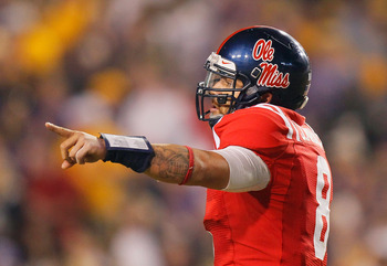 BATON ROUGE, LA - NOVEMBER 20:  Jeremiah Masoli #8 of the Ole Miss Rebels against the Louisiana State University Tigers at Tiger Stadium on November 20, 2010 in Baton Rouge, Louisiana.  (Photo by Kevin C. Cox/Getty Images)