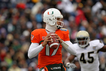 EL PASO, TX - DECEMBER 30:  Quarterback Stephen Morris #17 of the Miami Hurricanes throws against the Notre Dame Fighting Irish at Sun Bowl on December 30, 2010 in El Paso, Texas.  (Photo by Ronald Martinez/Getty Images)