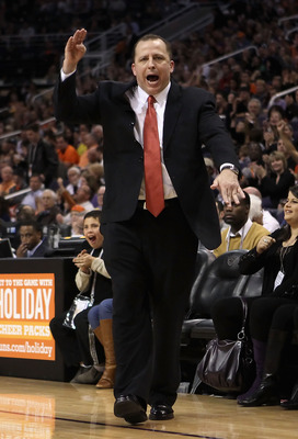 PHOENIX - NOVEMBER 24:  Head coach Tom Thibodeau of the Chicago Bulls reacts during the NBA game against the Phoenix Suns at US Airways Center on November 24, 2010 in Phoenix, Arizona. The Bulls defeated the Suns 123-115 in double overtime.  NOTE TO USER: