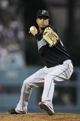 LOS ANGELES, CA - JULY 05:  Relief pitcher Leo Nunez #46 of the Florida Marlins pitches in the ninth inning on his way to picking up the save against the Los Angeles Dodgers on July 5, 2010 at Dodger Stadium in Los Angeles, California. The Marlins won 6-5