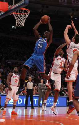 NEW YORK - DECEMBER 22: Jeff Green #22 of the Oklahoma City Thunder in action against the New York Knicks at Madison Square Garden on December 22, 2010 in New York, New York.   NOTE TO USER: User expressly acknowledges and agrees that, by downloading and/