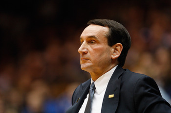 DURHAM, NC - FEBRUARY 09:  Head coach Mike Krzyzewski of the Duke Blue Devils against the North Carolina Tar Heels during their game at Cameron Indoor Stadium on February 9, 2011 in Durham, North Carolina.  (Photo by Streeter Lecka/Getty Images)