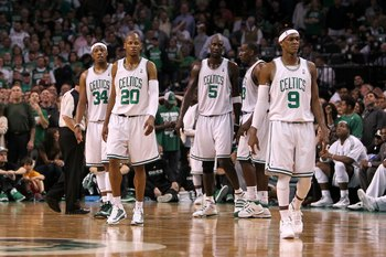 BOSTON - MAY 28:  (L-R) Paul Pierce #34, Ray Allen #20, Kevin Garnett #5 and Rajon Rondo #9 of the Boston Celtics look on against the Orlando Magic in Game Six of the Eastern Conference Finals during the 2010 NBA Playoffs at TD Garden on May 28, 2010 in B