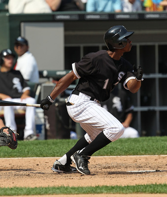 CHICAGO - AUGUST 01: Juan Pierre #1 of the Chicago White Sox runs after hitting the ball against the Oakland Athletics at U.S. Cellular Field on August 1, 2010 in Chicago, Illinois. The White Sox defeated the Athletics 4-1. (Photo by Jonathan Daniel/Getty