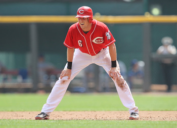 CINCINNATI - AUGUST 29:  Drew Stubbs #6 of the Cincinnati Reds leads off of first base during the game against the Chicago Cubs at Great American Ball Park on August 29, 2010 in Cincinnati, Ohio.  (Photo by Andy Lyons/Getty Images)