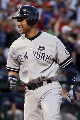 ARLINGTON, TX - OCTOBER 16:  Derek Jeter #2 of the New York Yankees reacts against the Texas Rangers in Game Two of the ALCS during the 2010 MLB Playoffs at Rangers Ballpark in Arlington on October 16, 2010 in Arlington, Texas.  (Photo by Elsa/Getty Image