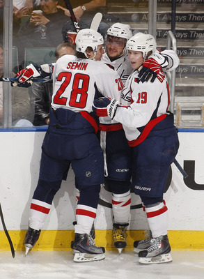 SUNRISE, FL - JANUARY 13: Alex Ovechkin #8 celebrates with Alexander Semin #28 and Nicklas Backstrom #19 of the Washington Capitals after scoring a goal against the Florida Panthers on January 13, 2010 at the BankAtlantic Center in Sunrise, Florida. (Phot