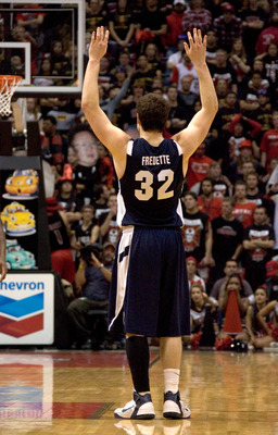SAN DIEGO, CA - FEBRUARY 26:  Jimmer Fredette #32 of the Brigham Young Cougars celebrates the win against the San Diego State Aztecs during the second half at Cox Arena on February 26, 2011 in San Diego, California. BYU beat SDSU 80-67. (Photo by Kent Hor