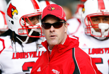 CINCINNATI - OCTOBER 24:  Steve Kragthorpe the Head Coach of the Louisville Cardinals is pictured during the Big East Conference game against the Cincinnati Bearcats at Nippert Stadium on October 24, 2009 in Cincinnati, Ohio.  (Photo by Andy Lyons/Getty I