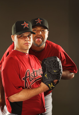 KISSIMMEE, FL - FEBRUARY 24:  Wandy Rodriguez #51 and Carlos Lee #45 of the Houston Astros pose for a portrait Spring Training photo Day at Osceola County Stadium  on February 24, 2011 in Kissimmee, Florida.  (Photo by Al Bello/Getty Images)