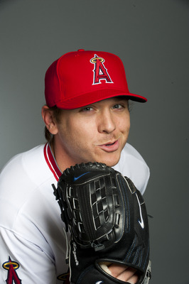 TEMPE, AZ - FEBRUARY 21: Scott Kazmir #19 of the Los Angeles Angels of Anaheim poses during their photo day at Tempe Diablo Stadium on February 21, 2011 in Tempe, Arizona.  (Photo by Rob Tringali/Getty Images)