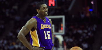 CHARLOTTE, NC - FEBRUARY 14:  Ron Artest #15 of the Los Angeles Lakers against the Charlotte Bobcats during their game at Time Warner Cable Arena on February 14, 2011 in Charlotte, North Carolina. NOTE TO USER: User expressly acknowledges and agrees that,