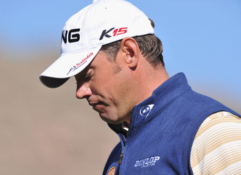 MARANA, AZ - FEBRUARY 24:  Lee Westwood of England looks dejected during the second round of the Accenture Match Play Championship at the Ritz-Carlton Golf Club on February 24, 2011 in Marana, Arizona.  (Photo by Stuart Franklin/Getty Images)
