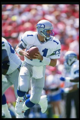 13 Sep 1992: Quarterback Kelly Stouffer of the Seattle Seahawks moves the ball during a game against the Kansas City Chiefs at Arrowhead Stadium in Kansas City, Missouri. The Chiefs won the game, 26-7.