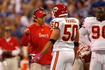 INDIANAPOLIS, IN - OCTOBER 10: Coach Todd Haley of the Kansas City Chiefs talks with Mike Vrabel #50 against the Indianapolis Colts at Lucas Oil Stadium on October 10, 2010 in Indianapolis, Indiana.  (Photo by Scott Boehm/Getty Images)