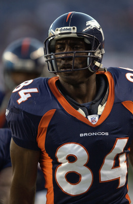 DENVER - OCTOBER 13:  Shannon Sharpe #84 of the Denver Broncos during a game against the Miami Dolphins on October 13, 2002 at INVESCO Field at Mile High in Denver, Colorado. The Dolphins defeated the Broncos 24-22. (Photo by Josh Merwin/Getty Images)