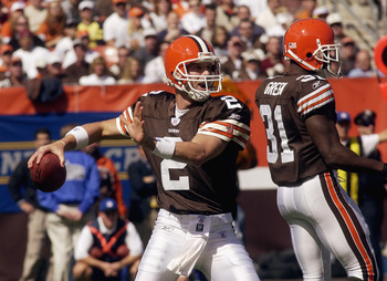 CLEVELAND - SEPTEMBER 28:  Quarterback Tim Couch #2 of the Cleveland Browns throws a pass against the Cincinnati Bengals at Cleveland Browns Stadium on September 28, 2003 in Cleveland, Ohio. The Bengals defeated the Browns 21-14.  (Photo by Phil Long/Gett