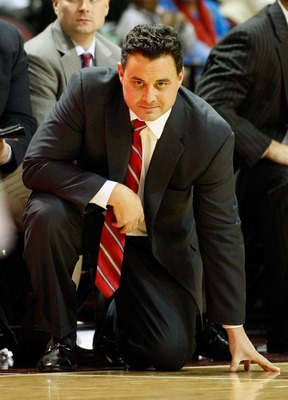LAS VEGAS - NOVEMBER 26:  Head coach Sean Miller of the Arizona Wildcats watches his team take on the Santa Clara Broncos during the third round of the Las Vegas Invitational at The Orleans Arena November 26, 2010 in Las Vegas, Nevada. Arizona won 82-59.