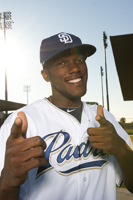 PEORIA, AZ - FEBRUARY 23: Cameron Maybin #24 of the San Diego Padres poses during their photo day at the Padres Spring Training Complex on February 23, 2011 in Peoria, Arizona. (Photo by Rob Tringali/Getty Images)