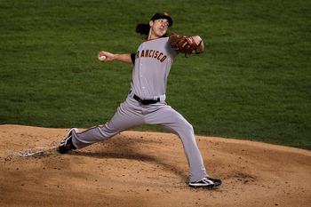 ARLINGTON, TX - NOVEMBER 01:  Starting pitcher Tim Lincecum #55 of the San Francisco Giants pitches against the Texas Rangers in Game Five of the 2010 MLB World Series at Rangers Ballpark in Arlington on November 1, 2010 in Arlington, Texas. The Giants wo