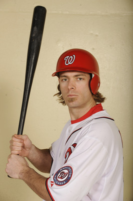 WASHINGTON, DC - DECEMBER 15:  Jayson Werth #28 of the Washington Nationals poses before being introduced to the media on December 15, 2010 at Nationals Park in Washington, DC.   (Photo by Mitchell Layton/Getty Images)