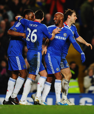 LONDON, ENGLAND - JANUARY 15:  Nicolas Anelka of Chelsea (2R) celebrates with Didier Drogba (L), John Terry (2L) and Branislav Ivanovic (R) as he scores their second goal during the Barclays Premier League match between Chelsea and Blackburn Rovers at Sta