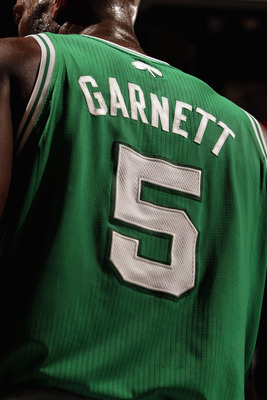 DENVER, CO - FEBRUARY 24:  A detail of the jersey of Kevin Garnett #5 of the Boston Celtics as he faces the Denver Nuggets during NBA action at the Pepsi Center on February 24, 2011 in Denver, Colorado. The Nuggets defeated the Celtics 89-75. NOTE TO USER