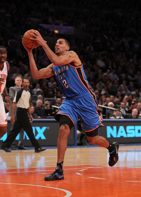 NEW YORK - DECEMBER 22:  Thabo Sefolosha #2 of the Oklahoma City Thunder in action against the New York Knicks at Madison Square Garden on December 22, 2010 in New York, New York.   NOTE TO USER: User expressly acknowledges and agrees that, by downloading