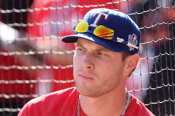 ARLINGTON, TX - OCTOBER 30:  Josh Hamilton #32 of the Texas Rangers looks on during batting practice against the San Francisco Giants in Game Three of the 2010 MLB World Series at Rangers Ballpark in Arlington on October 30, 2010 in Arlington, Texas.  (Ph