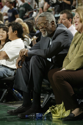 SEATTLE - MAY 15:  NBA Hall of Famer and Boston Celtics legend Bill Russell watches the Seattle SuperSonics play the San Antonio Spurs in Game four of the Western Conference Semifinals during the 2005 NBA Playoffs at Key Arena on May 15, 2005 in Seattle,