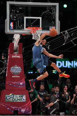 LOS ANGELES, CA - FEBRUARY 19:  JaVale McGee #34 of the Washington Wizards goes up for a dunk in the Sprite Slam Dunk Contest apart of NBA All-Star Saturday Night at Staples Center on February 19, 2011 in Los Angeles, California. NOTE TO USER: User expres