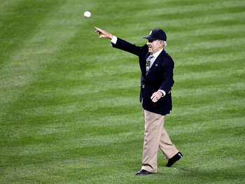 NEW YORK - OCTOBER 09:  Hall of Famer Yogi Berra of the New York Yankees throws out the ceremonial first pitch against the Minnesota Twins during Game Three of the ALDS part of the 2010 MLB Playoffs at Yankee Stadium on October 9, 2010 in the Bronx boroug