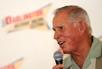 DARLINGTON, SC - SEPTEMBER 25:  NASCAR legend David Pearson speaks to fans during the Darlington Historic Racing Festival at Darlington Raceway on September 25, 2010 in Darlington, South Carolina.  (Photo by Rusty Jarrett/Getty Images)