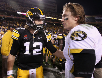 TEMPE, AZ - DECEMBER 28:  Quarterback Ricky Stanzi #12 of the Iowa Hawkeyes greets Blaine Gabbert #11 of the Missouri Tigers following the Insight Bowl at Sun Devil Stadium on December 28, 2010 in Tempe, Arizona. The Hawkeyes defeated the Tigers 27-24.  (