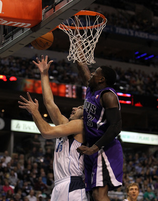 DALLAS, TX - FEBRUARY 16:  Forward Peja Stojakovic #16 of the Dallas Mavericks takes a shot against Jason Thompson #34 of the Sacramento Kings at American Airlines Center on February 16, 2011 in Dallas, Texas.  NOTE TO USER: User expressly acknowledges an