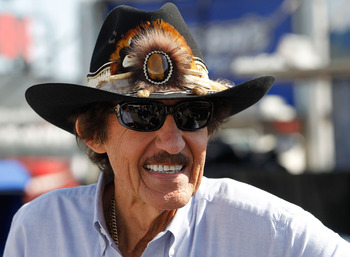 DAYTONA BEACH, FL - FEBRUARY 18:  Hall of fame driver Richard Petty looks on in the garage area during practice for the NASCAR Sprint Cup Series Daytona 500 at Daytona International Speedway on February 18, 2011 in Daytona Beach, Florida.  (Photo by Tom P