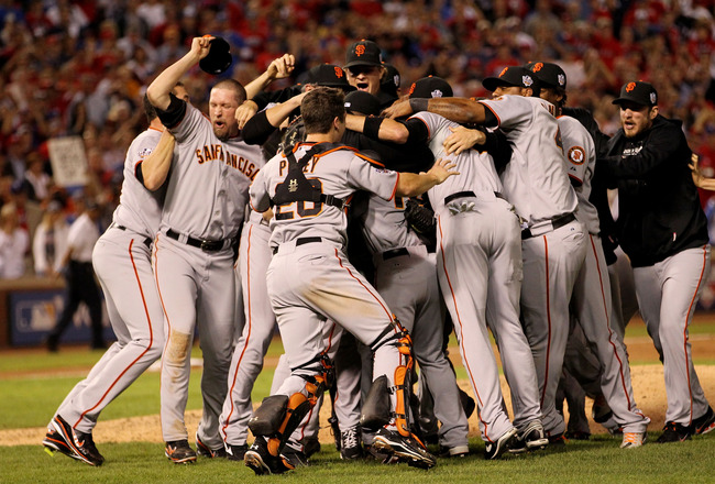 ARLINGTON, TX - NOVEMBER 01:  The San Francisco Giants celebrate their 3-1 victory to win the World Series over the Texas Rangers in Game Five of the 2010 MLB World Series at Rangers Ballpark in Arlington on November 1, 2010 in Arlington, Texas.  (Photo b