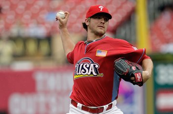 ST. LOUIS, MO - JULY 12: U.S. Futures All-Star Kyle Drabek of the Philadelphia Phillies pitches during the 2009 XM All-Star Futures Game at Busch Stadium on July 12, 2009 in St. Louis, Missouri. (Photo by Jamie Squire/Getty Images)