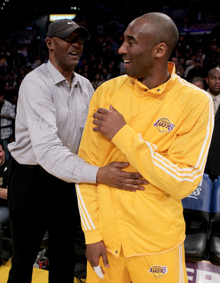 LOS ANGELES - APRIL 20:  Kobe Bryant #24 of the Los Angeles Lakers laughs with father Joe Jelly Bean Bryant before playing the Oklahoma City Thunder during  Game Two of the Western Conference Quarterfinals of the 2010 NBA Playoffs on April 20, 2010 at Sta