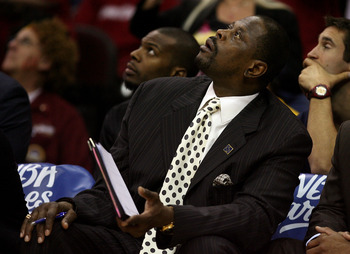 CLEVELAND - MAY 20: Assistant coach Patrick Ewing of the Orlando Magic looks on from the bench during Game One of the Eastern Conference Finals against the Cleveland Cavaliers during the 2009 Playoffs at Quicken Loans Arena on May 20, 2009 in Cleveland, O