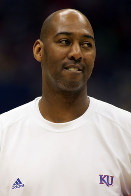 SAN ANTONIO - APRIL 04:  Assistant coach Danny Manning of the Kansas Jayhawks looks on during practice for the NCAA Men's Final Four at the Alamodome on April 4, 2008 in San Antonio, Texas.  (Photo by Ronald Martinez/Getty Images)